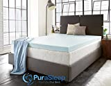 PuraSleep 2'' Perfect Temp Gel Cooled Memory Foam Mattress Topper, Blue, Twin XL