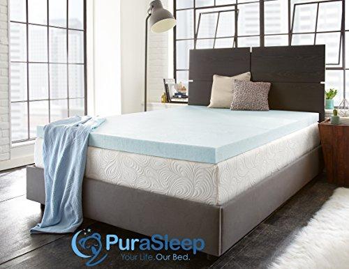 PuraSleep 2'' Perfect Temp Gel Cooled Memory Foam Mattress Topper, Blue, Twin XL by PuraSleep