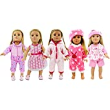 "AOFUL 5 Lots Bitty Baby Doll Dress Clothes, Fashion Bunny Pink Pajamas Romper Skirt Outfits Fits 16-18"" inch American Girl Dolls Set of 5"