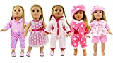 "5 Lots Bitty Baby Doll Dress Clothes, AOFUL Fashion Bunny Pink Pajamas Romper Skirt Outfits Fits 16-18"" inch american girl Dolls Set of 5"