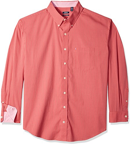 IZOD Mens Big and Tall Button Down Long Sleeve Stretch Performance Gingham Shirt