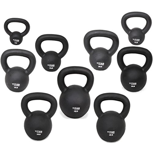 Titan Fitness Cast Iron Kettlebell Weight 35 Lbs Natural Solid Workout Swing