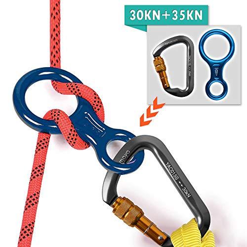 AYAMAYA Carabiners Climbing Locking Clip+ Figure 8 Descender, 30kn Screwgate Locking Caribeaner Rock D Shape Hook Holds 6744lbf & 35kn Rescue 8 Aluminum Descender Belaying Rappel Rigging -