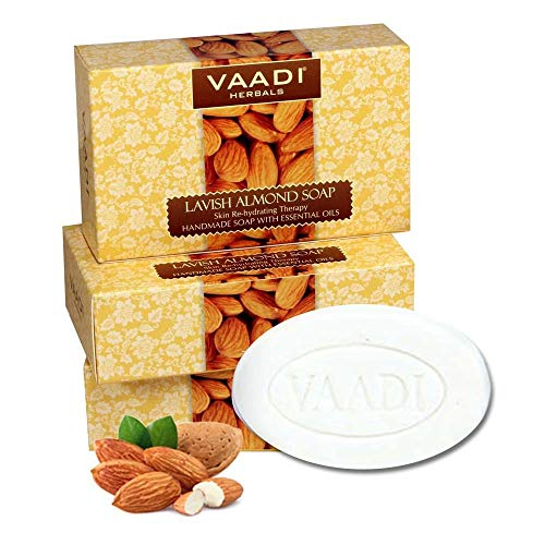 Almond Soap (Almond Oil Bar Soap) with Honey and Aloe Vera Extracts - Handmade Herbal Soap (Aromatherapy) with 100% Pure Essential Oils - ALL Natural - Best Natural Skin Moisturizer - Each 2.65 Ounces - Pack of 3 (8 Ounces) - Vaadi Herbals (Almond Oil Soap)
