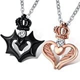 Aienid Him and Her Necklaces Stainless Steel Devil and Angel Love Crown Pendant with CZ