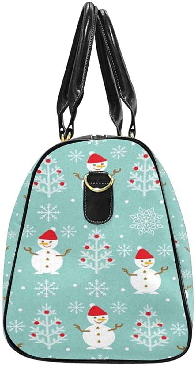 INTERESTPRINT Unisex Duffel Bag Carry-on Bag Overnight Bag Weekender Bag Christmas Pattern with Christmas Tree