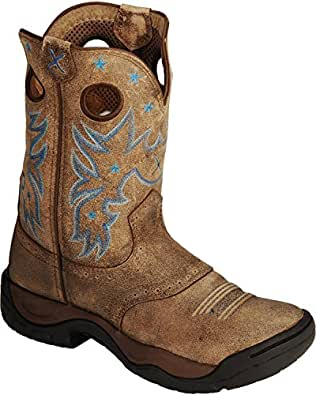 Twisted X Women's Distressed All Around Barn Boot Round Toe Bomber 6.5 M US