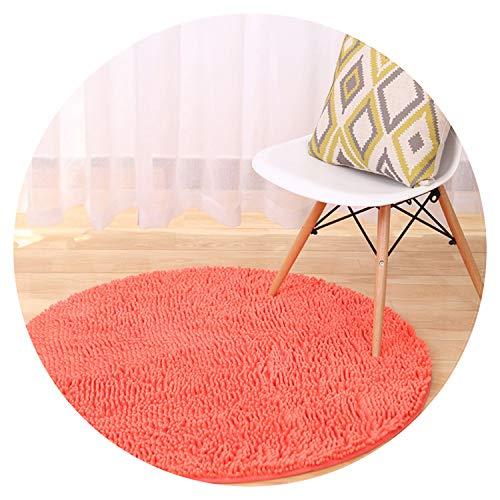 Solid Plush Chenille Round Carpet for Living Room Anti-Slip Kids Bedroom Carpets Play Mats Computer Chair Floor Mats,Diameter 80cm,Watermelon