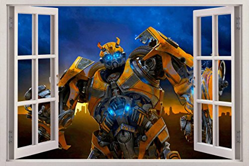 (BUMBLEBEE Transformers 3D Window View Decal WALL STICKER Home Decor Art Mural, Huge C030)