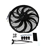Universal High Performance 12V Slim Electric Cooling Radiator Fan With Fan Mounting Kit (16 Inch, Black)