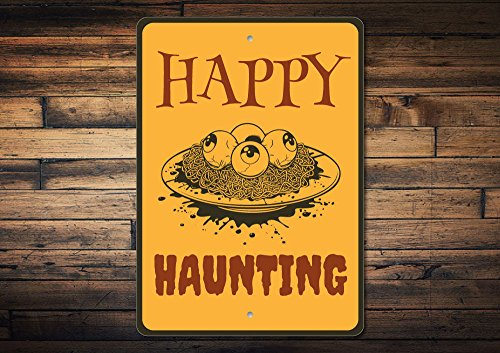 Dozili Happy Haunting Sign Eyeballs Sign Gross Halloween Sign Haunted House Sign Haunted House Decor Eyeball Decor Quality Metal 10