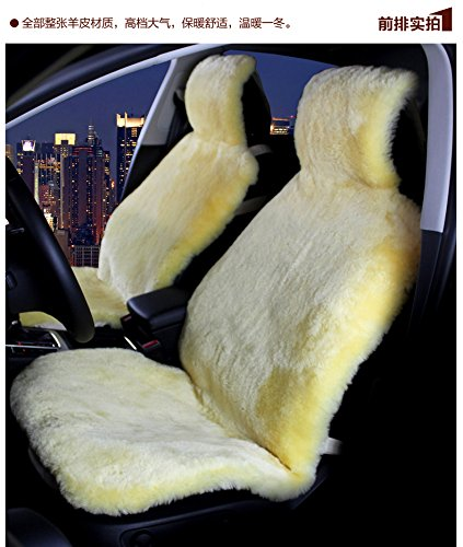 OFLBA Faux Sheepskin Car Seat Cover Set Universal Fit Full Front And Rear Yellow