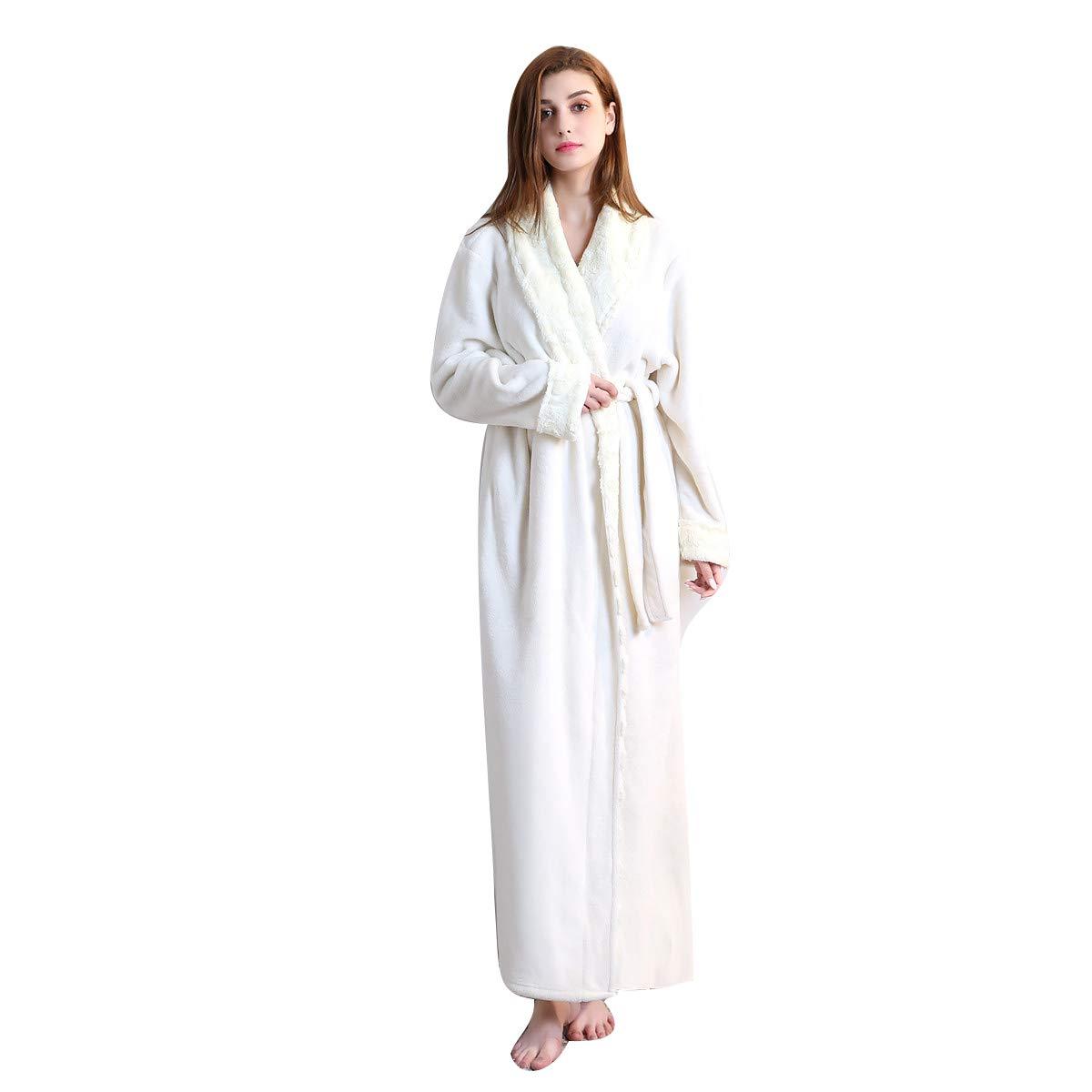 DoMii Women Long Thick Fleece Robe Soft Spa Plush Full Length Bathrobe Sleepwear