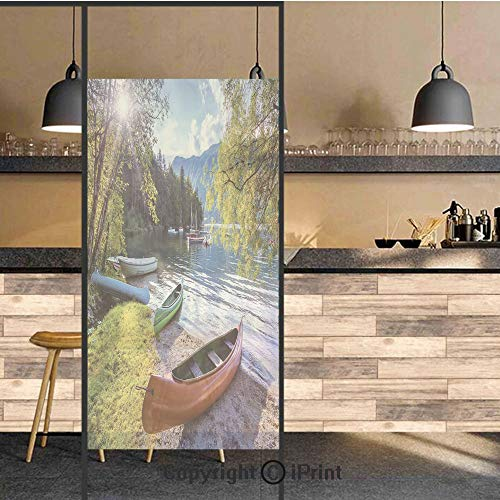 (3D Decorative Privacy Window Films,Bohinj Lake with Boats Canoes Triglav National Park Julian Alps Slovenia Print,No-Glue Self Static Cling Glass film for Home Bedroom Bathroom Kitchen Office 24x71 In)