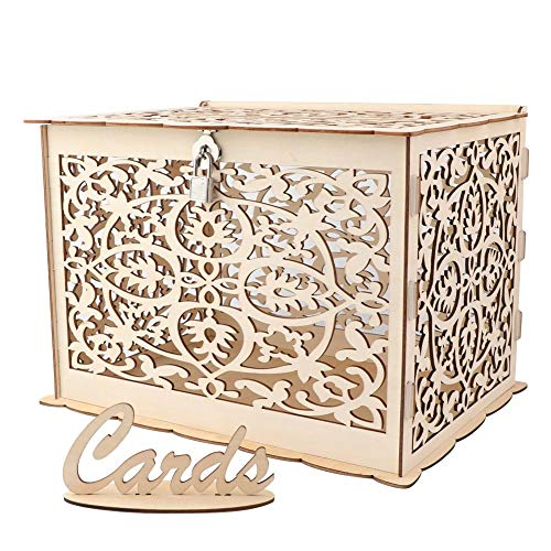 Aytai DIY Rustic Hollow Wedding Money Box with Lock and Card Sign Wooden Gift Card Box for Reception Baby Shower Wedding Anniversary Party Decorations