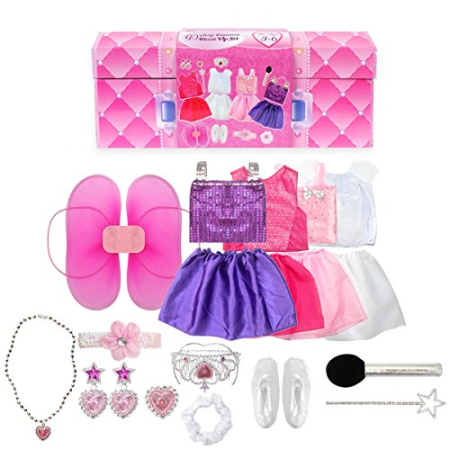 20PCS Girls Role Play Dress up Trunk Pretend Play Costume Set For Kids (Ballerina, Princess, Elf, Pop (Trunk Dress Up Clothes)