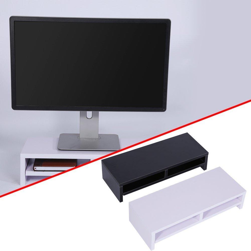 Soporte de Madera Universal con organizador para Monitor, TV, Portátil, Estante de Escritorio para Elevar la Pantalla de Sobremesa, 50*20*11,7cm (Blanco): ...