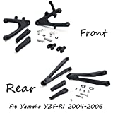 HK MOTO- Front Rear Foot Pegs Bracket Fit For Yamaha Yzf R1 2004-2006 Black