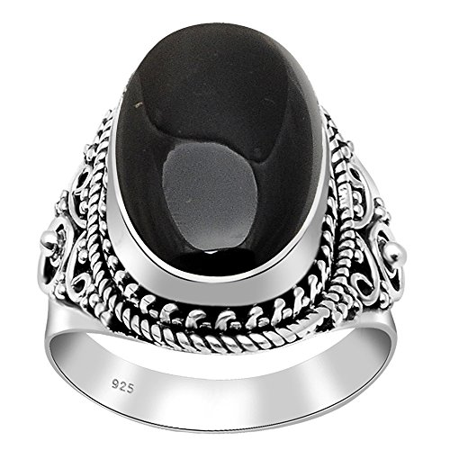 Black Onyx Oval Shaped 925 Oxidized Sterling Silver Rope Edge Vintage Ring ()