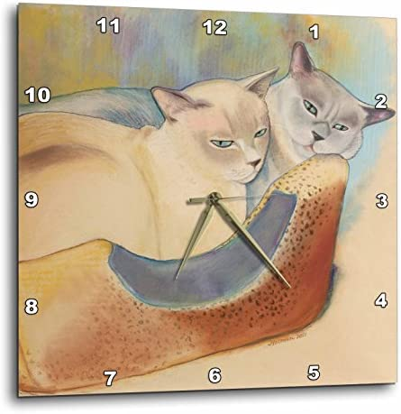 3dRose LLC DPP_23299_2 Wall Clock, 13 by 13-Inch, Cats Two Cats Tonkinese Cats Cuddling Pastel Painting Pet Portrait Cats Cat Bed