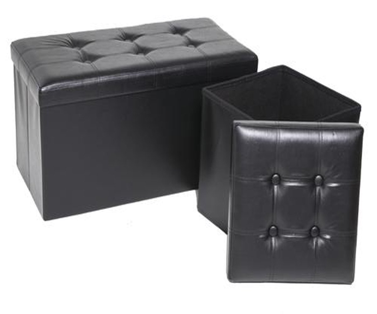 MS Home Long Foldable Bench Storage Ottoman 2 Pack - Soft Faux Leather Upholstery - Wear Resistance - Black