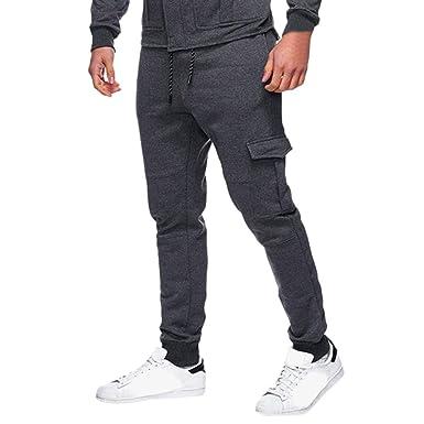d88903c52c8ba Pantalones ZODOF Hombres Pantalones de chándal clásicos con Cordones para  Hombres Bolsillos con Cremallera Pantalones de chándal Deportivos   Amazon.es  Ropa ...