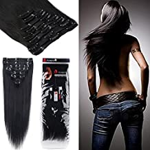 3-5 Days Delivery 100% Real Remy Clip in Hair Extensions Grade AAAAA Natural Hair 7pcs Standard Weft or 8pcs Standard Weft or 8pcs Double Weft Jet Dark Black Human Hair