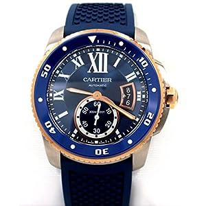 Cartier Calibre Diver Blue Rubber Band Automatic Men Watch W2CA0009