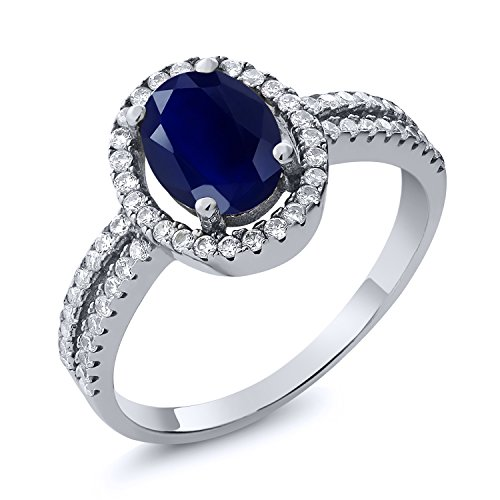 (Gem Stone King 2.55 Ct Oval Blue Sapphire Gemstone 925 Sterling Silver Women's Engagement Ring (Size 6) )