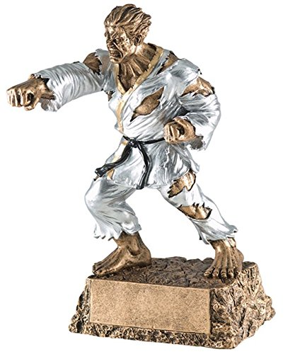 Monster Karate / Martial Arts Trophy - Engraved Plates by Request - Perfect Martial Arts Award Trophy - Hand Painted Design - Made by Heavy Resin Casting - for Recognition - Decade Awards