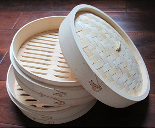 Signature Chef Bamboo Steamer, 10 inch, 2 Tier with Lid by Signature Chef (Image #2)