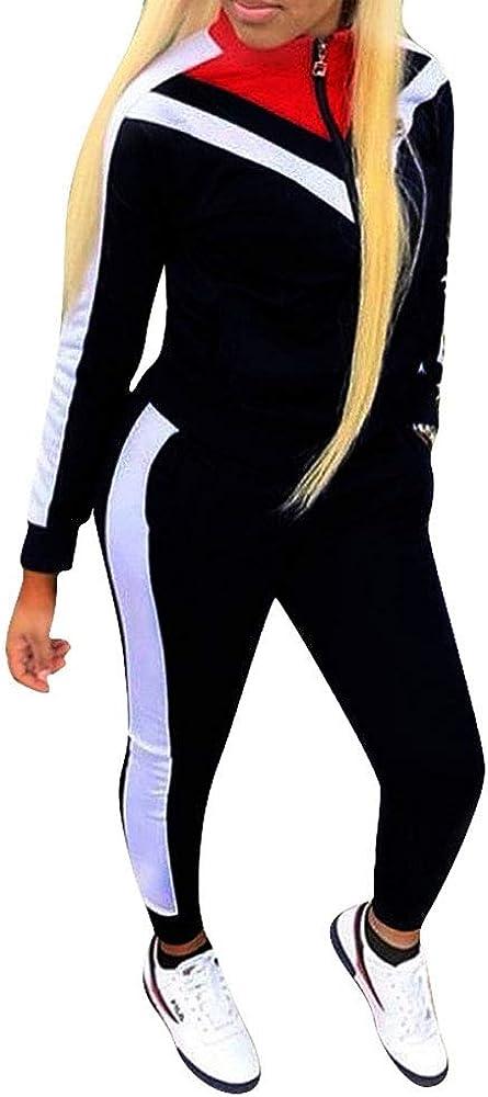 Irevial Womens Pyjama Set Loungewear Long Sleeve Tracksuits Top and Pants Sports Jogging Sportwear Yoga Gym Fitness