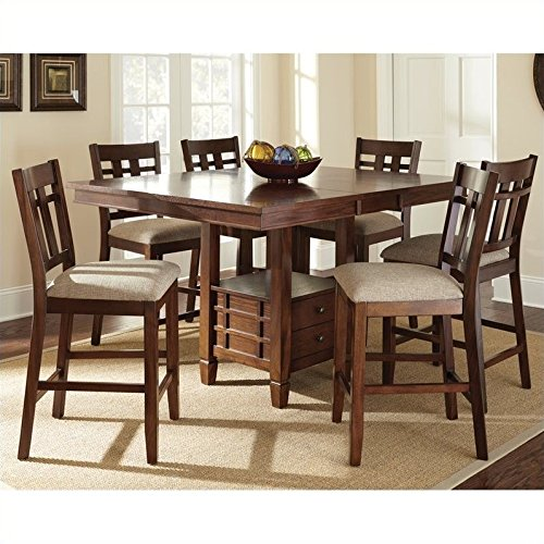 Steve Silver Company Bolton 7 Piece Counter Dining Table Set in Dark Oak
