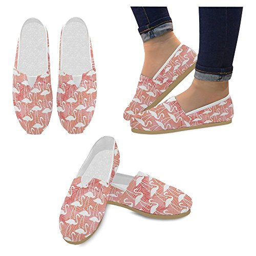 InterestPrint Women's Loafers Classic Casual Canvas Slip On Fashion Shoes Sneakers Flats Size 8 Elegant Flamingos in Vintage Style Illustration Love Romantic Animals Art Print by InterestPrint (Image #2)