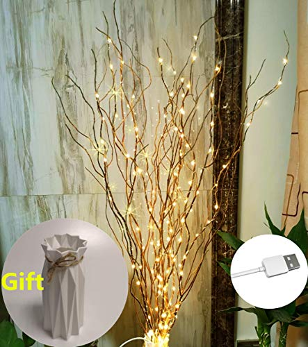 37Inch 160LED DIY Natural Willow Twig Lighted Branch for Home Decoration USB Plug-in and Vase (Brown Branch Warm White Light)