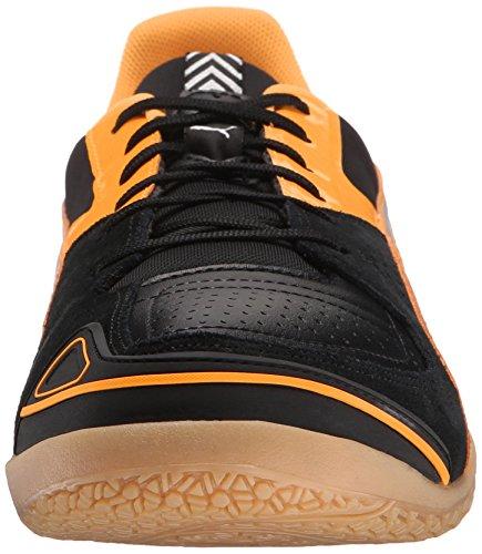 Puma hombres del invicto sala de fútbol zapato Negro/Puma Plateado/Naranja