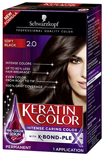 Schwarzkopf Keratin Color Permanent Hair Color Cream, 2.0 Soft Black(Packaging May Vary)