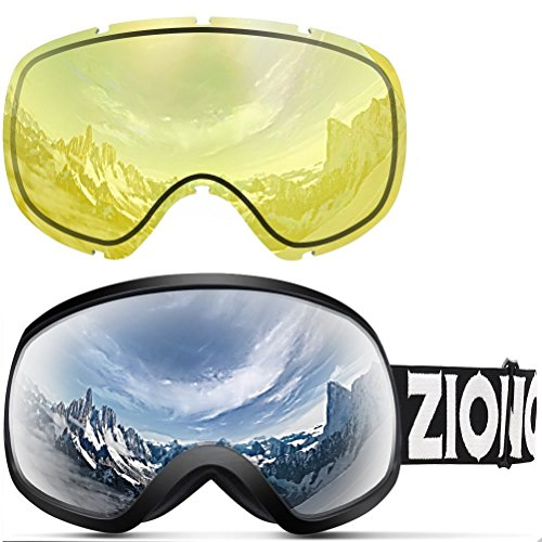 Zionor X10 Ski Snowboard Snow Goggles OTG for Men Women Youth Anti-fog UV Protection Helmet Compatible