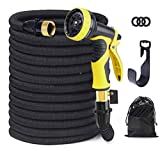 100 ft Expandable Garden Lawn Hose - Heavy Duty Flexible Leakproof Hose - 9-Pattern High-Pressure Water Spray Nozzle & Bag&Plastic Holder No Kink and Tangle-Free Lawn and Plant Watering System