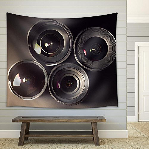 Set of DSLR Lenses Different Sizes and Reflections Fabric Wall