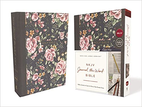 nkjv journal the word bible cloth over board gray floral red