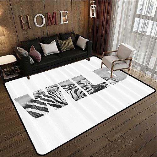 Truck mats,Zebra Print Decor Collection,Word Wild Over Zebras Picture Safari Animals Adventure Traveling Theme Art,Black White 78.7