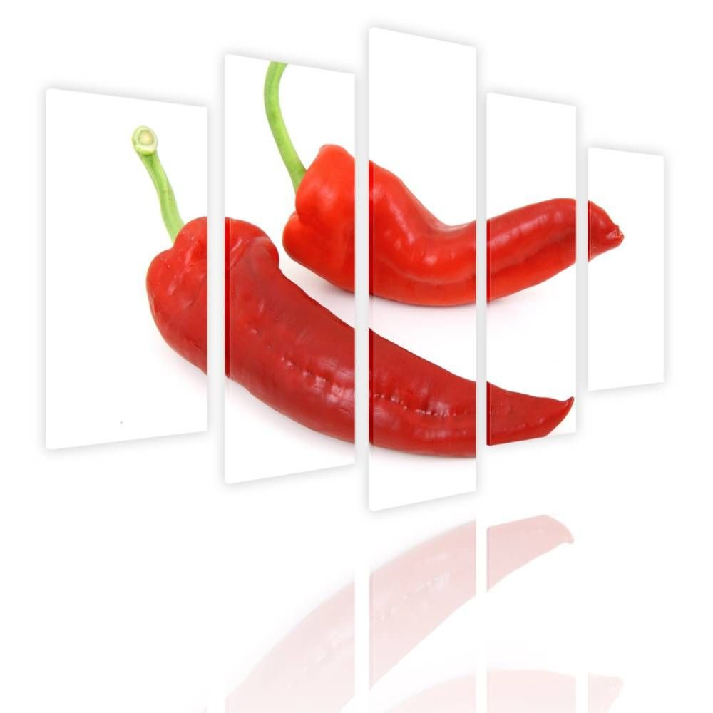Alonline Art - Chili by Split 5 Panels   framed stretched canvas on a ready to hang frame - 100% cotton - gallery wrapped   33''x22'' - 84x56cm   Wall art home decor for nursery or for bathroom   by Alonline Art