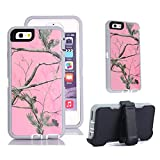iPhone 6s Holster Case, Harsel® Defender Series Heavy Duty Tree Camo Shockproof Scratch Resistant Hybrid Military w/ Belt Clip Built-in Screen Protector Case for iPhone 6s / iPhone 6 - Pink Tree Camo