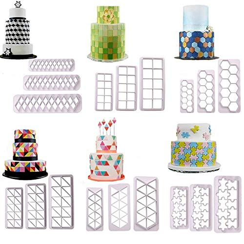 18 Pcs/set 6 Style Various Geometric Shape Printing Embossed Mold,3 Size Handmade Plastic Cookie Cutter Biscuit Mold Cooking Tool,Fondant Cake Decoration Edging Embossing Lace Press Biscuit Stamps