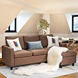Walsunny Convertible Sectional Sofa Couch with Reversible Chaise, L-Shaped Upholstered Couch with Modern Linen Fabric for Small Space (Coffee/Brown)