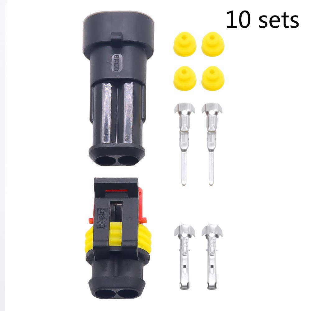 10 sets Kit 2 Pin Way AMP Super seal Waterproof Electrical Wire Connector Plug for car kaifa