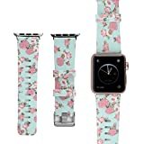 Amedve for Apple Watch Silicone Bands, Soft Silicone Floral Print Strap Replacement iWatch Wristbands for Apple Watch Sport Edition Series 3 Series 2 Series 1 (Pink Flower, 38mm)