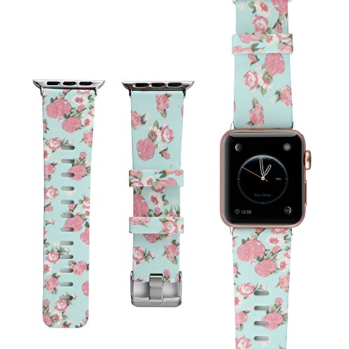 Amedve for Apple Watch Silicone Bands, Soft Silicone Floral Print Strap Replacement iWatch Wristbands for Apple Watch Sport Edition Series 3 Series 2 Series 1 (Pink Flower, 38mm) by Amedve