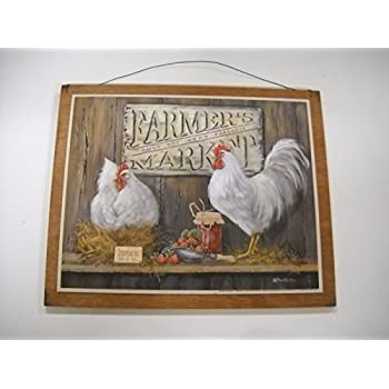 Genial Farmers Market Rooster Kitchen Wooden Wall Art Sign Farm Country Eggs